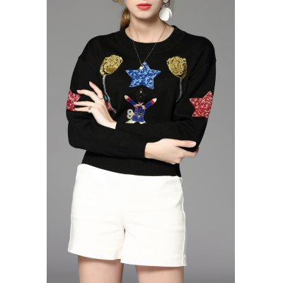 Embroidered Sequined Pullover Sweater