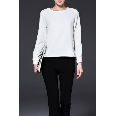 Long Sleeve High Low Lace Tee