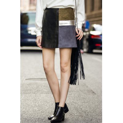 Faux Leather Panel Mini Skirt