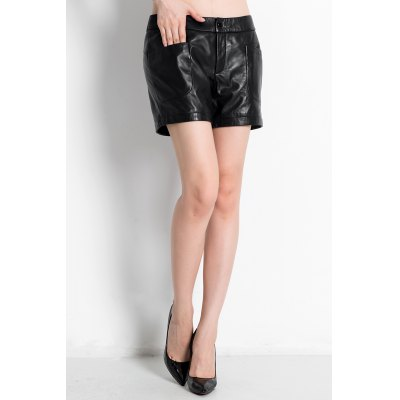 Mid Waist Leather Shorts with Pockets