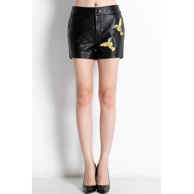 Mid Waist Embroidered Shorts