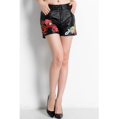 Embroidered Leather Shorts