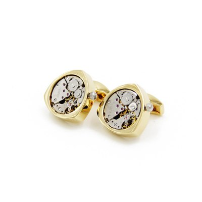 Immobile Faux Gem Round Triangle Watch Movement Inlay Cufflinks
