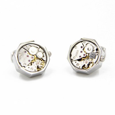 Faux Gem Octagon Watch Movement Inlay Cufflinks