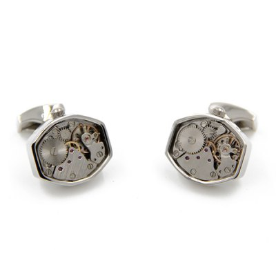 Immobile Faux Gem Geometry Watch Movement Inlay Cufflinks