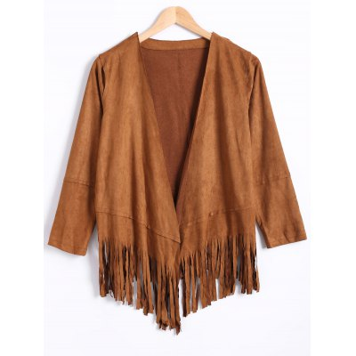 Fashion Long Sleeve Tassels Suede Coat For Women