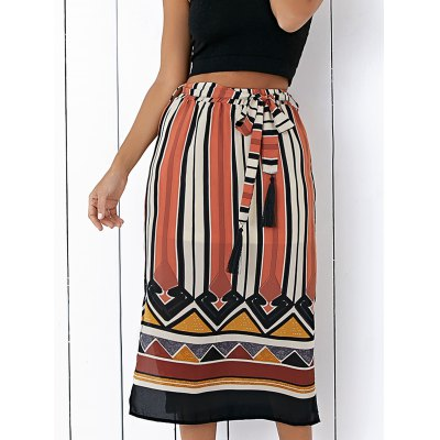 Fashion High Waisted Side Slit Striped Skirt For Women