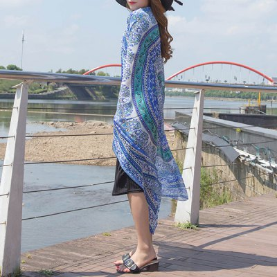 Rounded Totem Printed Quadrate Chiffon Sarong Long Scarf