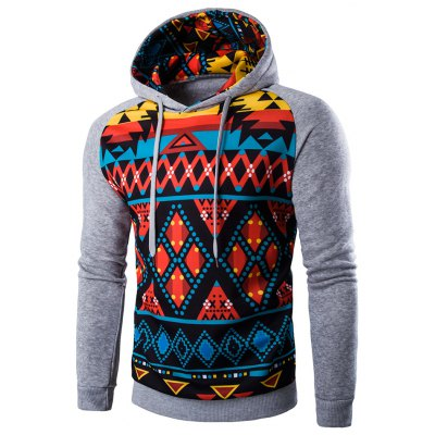 Cartoon Geometric Printed Hoodie