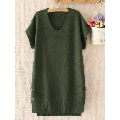 Buttoned Plus Size Loose Fitting Sweater Shift Dress