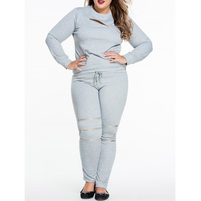 Plus Size Zipper Decorated Sweatshirt and Pants