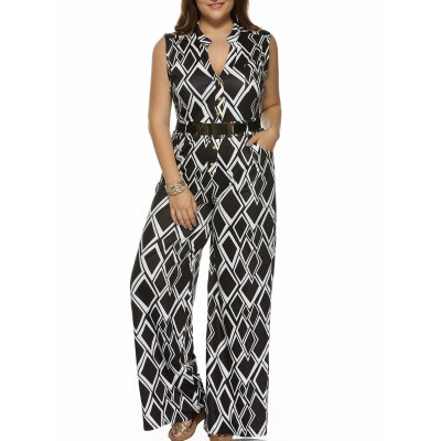 Geometrical Sleeveless Plus Size Jumpsuit