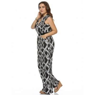 Plus Size Geometrical Print Sleeveless JumpsuitPlus Size Bottoms<br>Plus Size Geometrical Print Sleeveless Jumpsuit<br><br>Style: Streetwear<br>Length: Normal<br>Material: Polyester<br>Fit Type: Regular<br>Waist Type: Mid<br>Closure Type: Elastic Waist<br>Pattern Type: Geometric<br>Pant Style: Wide Leg Pants<br>With Belt: Yes<br>Weight: 0.645kg<br>Package Contents: 1 x Jumpsuit  1 x Belt