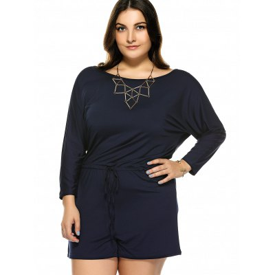 Plus Size Long Sleeve Drawstring RomperPlus Size Bottoms<br>Plus Size Long Sleeve Drawstring Romper<br><br>Style: Streetwear<br>Length: Short<br>Material: Polyester<br>Fit Type: Regular<br>Waist Type: Mid<br>Closure Type: Drawstring<br>Pattern Type: Solid<br>Pant Style: Wide Leg Pants<br>With Belt: No<br>Weight: 0.370kg<br>Package Contents: 1 x Romper