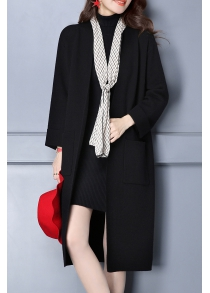 Double Pockets Long Knit Cardigan