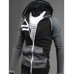 cheap Patchwork Design Zipper Flying Casual Hoodie
