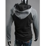 Patchwork Design Zipper Flying Casual Hoodie deal