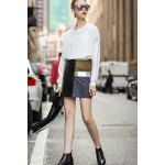 Faux Leather Panel Mini Skirt deal