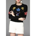 Embroidered Sequin Pullover Sweater