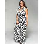 Plus Size Geometrical Print Sleeveless Jumpsuit deal