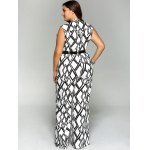 Plus Size Geometrical Print Sleeveless Jumpsuit for sale