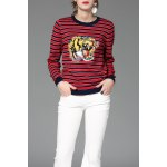Striped Tiger Embroidered Sweater