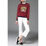 Striped Tiger Embroidered Sweater for sale