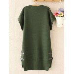 cheap Plus Size Buttoned Loose Fitting Sweater Shift Dress