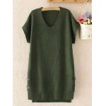 Plus Size Buttoned Loose Fitting Sweater Shift Dress