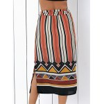 Fashion High Waisted Side Slit Striped Skirt For Women photo