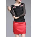 Flower Embroidered Mesh Long Sleeve T-Shirt