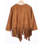 best Fashion Long Sleeve Tassels Suede Coat For Women