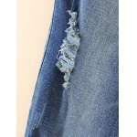 Plus Size Drawstring Ripped High Waisted Jeans for sale
