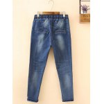 cheap Plus Size Drawstring Ripped High Waisted Jeans