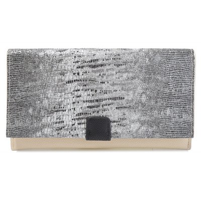 PU Leather Embossing Color Block Wallet
