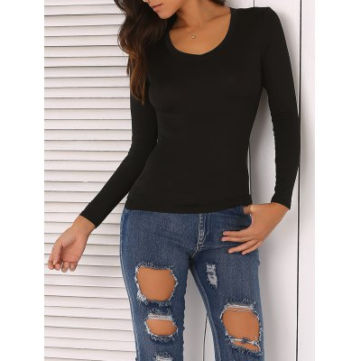 Solid Color Skinny Slimming T-Shirt