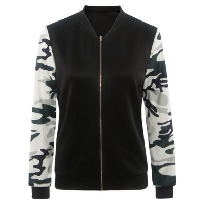 Splicing Camouflage Pattern Zippered Jacket