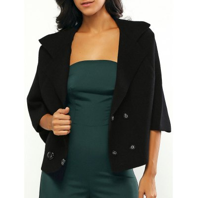 Bell Sleeves Loose-Fitted Buttoned Coat