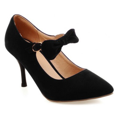 Buckle Bow Point Toe Pumps