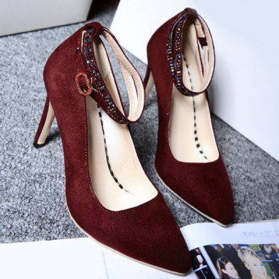 Sequins Point Toe Suede Ankle Strap Pumps