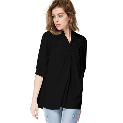 Lace Splicing Half Sleeve Blouse