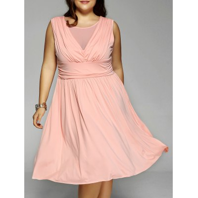 Mesh-Insert Ruched Plus Size Dress