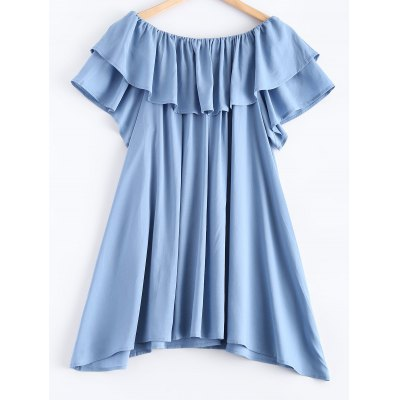 Pure Color Overlay Frilled Asymmetric Dress