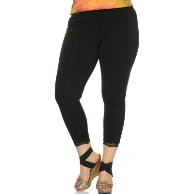 Lace Trim Stretched Slimming Pants