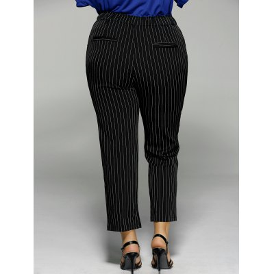 Plus Size Vertical Stripe Pocket Ankle Pants от GearBest.com INT