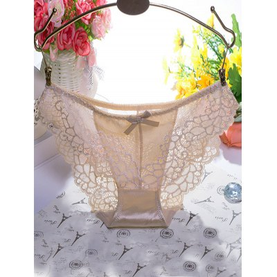 Bowknot Scalloped Lace Splicing Briefs