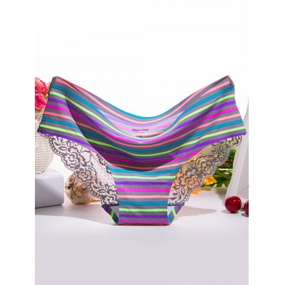 Scalloped Lace Spliced Colorful Striped Briefs