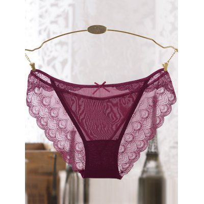 See-Through Bowknot Scalloped Lace Splicing Briefs