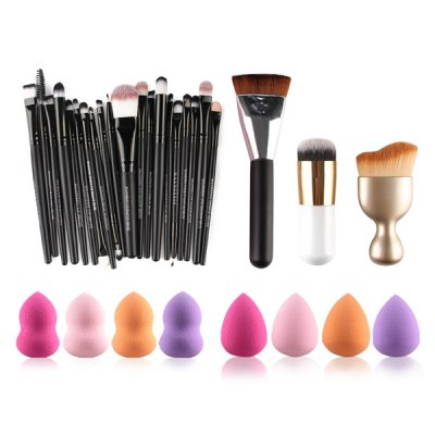Special price for MAANGE5152 20 Pcs Makeup Brushes Set + 8 Pcs Makeup Sponges + S-Shape Blush Brush + Foundation Brush + Contour Brush  -  COLORMIX