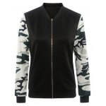 Camouflage Pattern Splicing Zippered Jacket